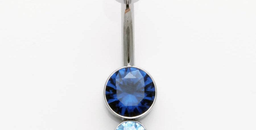 Bauchnabelpiercing blau