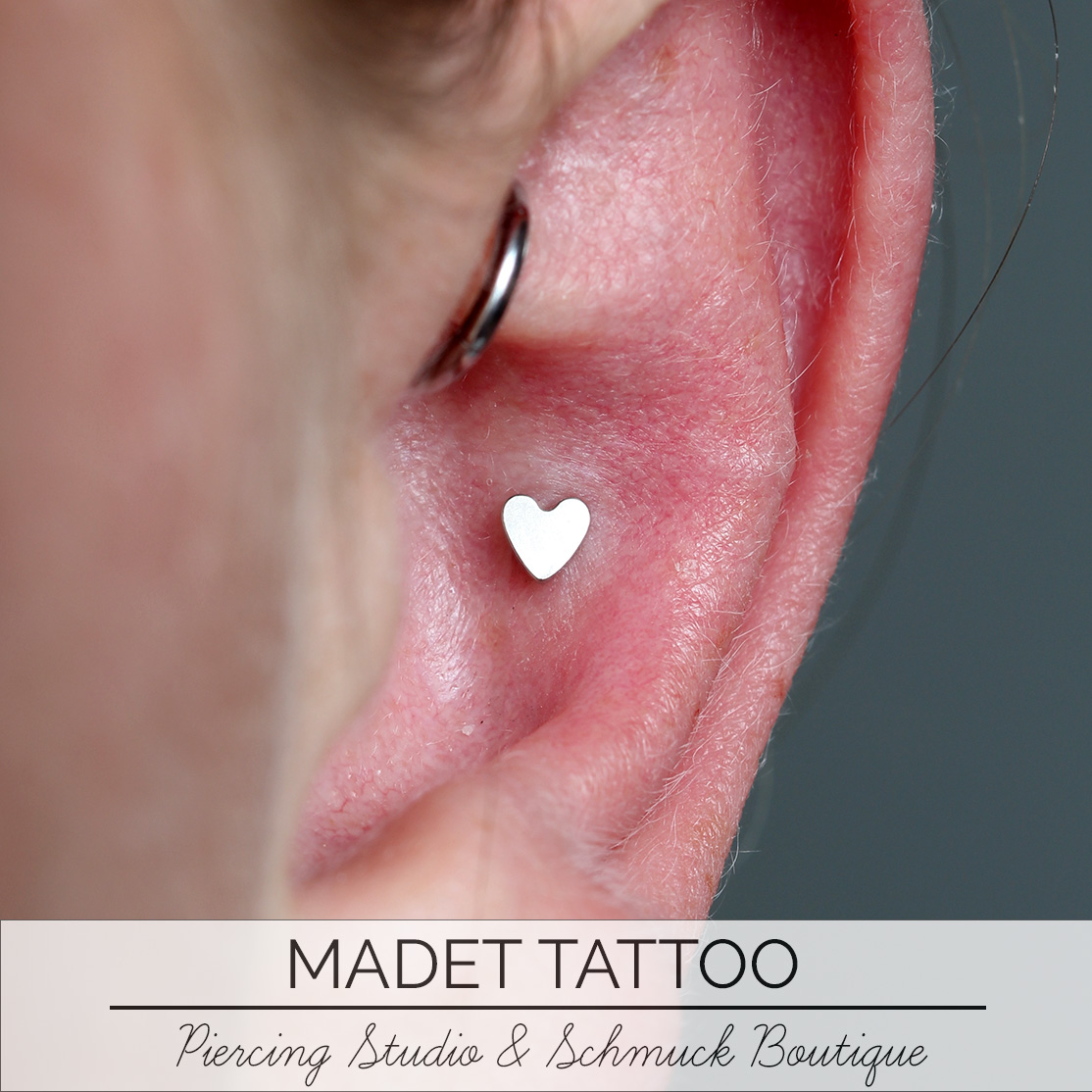 Conch Heart Piercing
