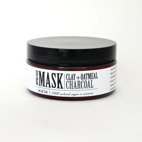 DETOX FACE MASK | CLAY+OATMEAL+CHARCOAL 100% NATURAL