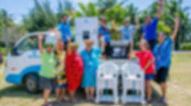 Bluesky staff, donation, pareu, rarotonga, are pa metua, truck, fridge, oven, chairs