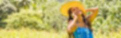 happy, girl, blue dress, sun hat, mobile, call, sunny, bush, smiling, laughing, fun