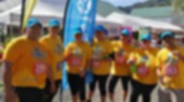 Bluesky staff, blue caps, yellow tshirts