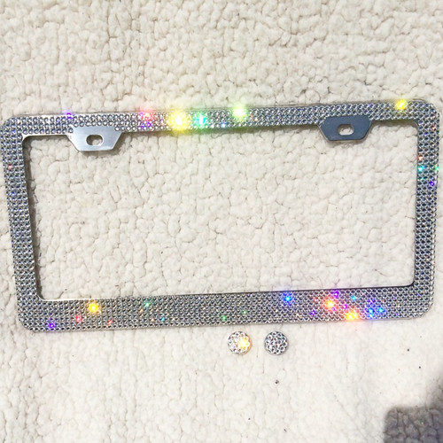 Sparkle Nvie Swarovski crystal car emblems license plate frames