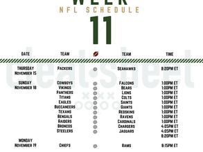 Week 11: NFL Football Schedule