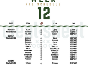 Week 12: NFL Pro Football Schedule