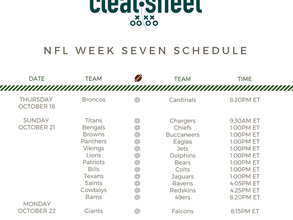 NFL Week Seven Schedule