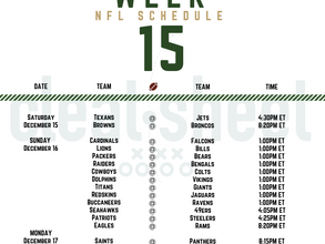 Week 15: NFL Pro Football Schedule