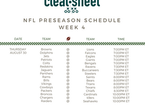 NFL PreSeason Week Four Schedule