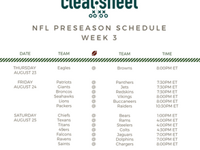 NFL Preseason Week 3 Schedule