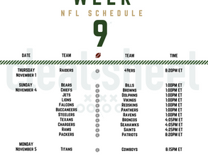 Week 9: NFL Schedule