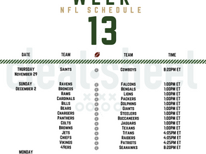 Week 13: NFL Pro Football Schedule
