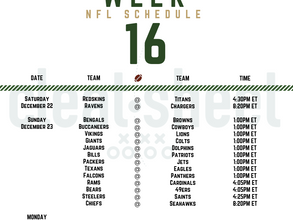 Week 16: NFL Pro Football Schedule