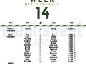 Week 14: Pro Football Schedule