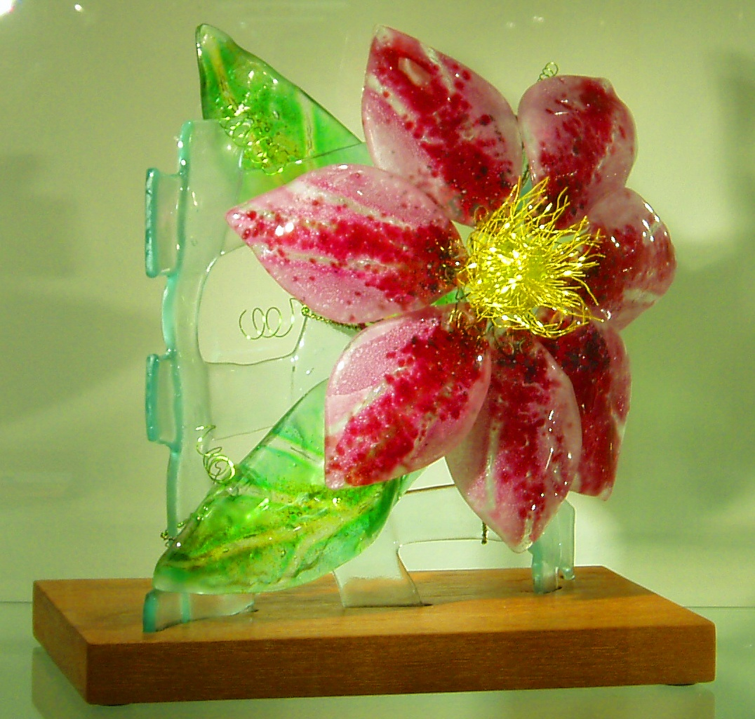 Clematis 2012 fused glass, wire, wood