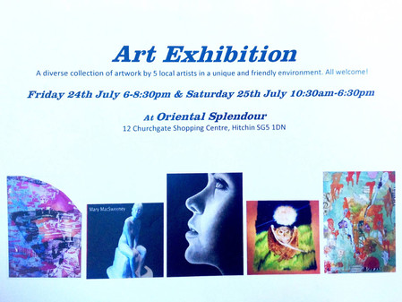 Mary  MacSweeney exhibits at Oriental Splender in Hitchin