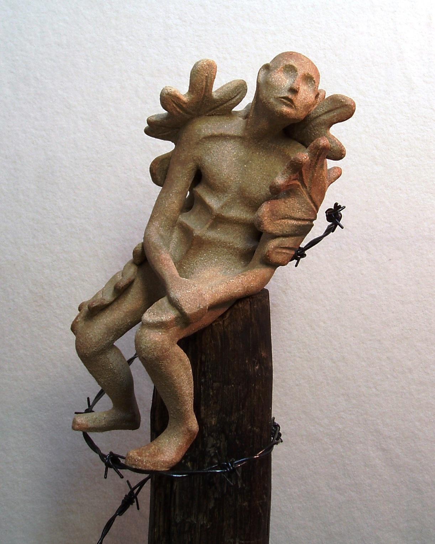 Oak Man 2012 stoneware, wood, wire
