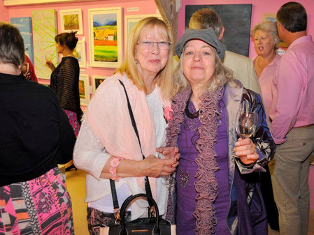 Marilyn Comparetto & Gabriele Smolarz attending Cancer Fund Raising event at Mardleybury Gallery