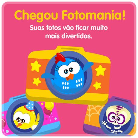 Nova função do app da Galinha Pintadinha permite tirar fotos com a Popó