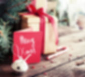 Christmas present on dark wooden backgro
