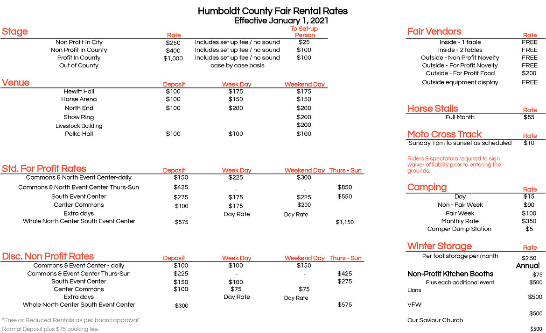 Humboldt County Fair Grounds Rental Rates