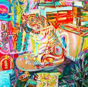 《トイレの上の虎》 キャンバスに油彩/117×117cm/2018 《Tiger on the toilet》Oil on canvas