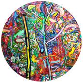 《たぬき○うえき》 板に油彩/Φ90cm/2017 《Tanuki ○ Ueki》Oil on woodes board