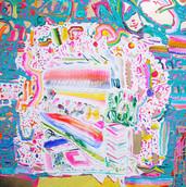 《ドラッグストア》 キャンバスに油彩/73×73cm/2017 《Drug Store》Oil on canvas