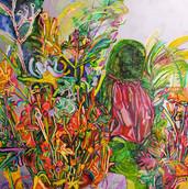 《苔の地蔵》 キャンバスに油彩/91×91cm/2018 《Moss Jizo》Oil on canvas