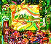 《富士のお茶》 キャンバスに油彩/45,5×53cm/2017 《Fuji's tea》Oil on canvas