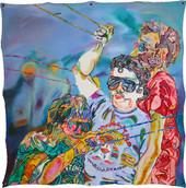 《凧揚げ》 キャンバスに油彩、鳩目/90×90cm/2017 《Kite-flying》Oil on canvas with eyelets