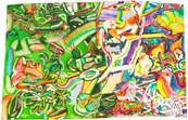 《鳥ノ木》エスキース / ポリスチレンフォームに油彩/32.5×51.5cm/2018 《Bird tree》Esquisse / Oil on polystyrene form