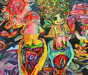 《境谷の宇宙 2》 キャンバスに油彩/48×53cm/2018 《Sakaidani's Universe 2》Oil on canvas