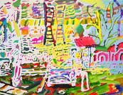 《双子の梯子》 キャンバスに油彩/32×43cm/2018 《Twin ladder》Oil on canvas