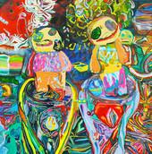 《境谷の宇宙 3》 キャンバスに油彩/91×91cm/2018 《Sakaidani's Universe 3》Oil on canvas