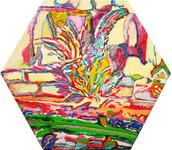 《草の鳥》 キャンバスに油彩/34,6×40cm/2018 《 Grass bird》Oil on canvas