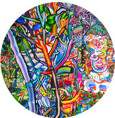 《たぬきのにわ》 板に油彩/Φ90cm/2017 《Tanuki's garden》Oil on woodes board