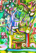 《コケの明王》 キャンバスに油彩/23×16cm/2018 《Moss acala》Oil on canvas