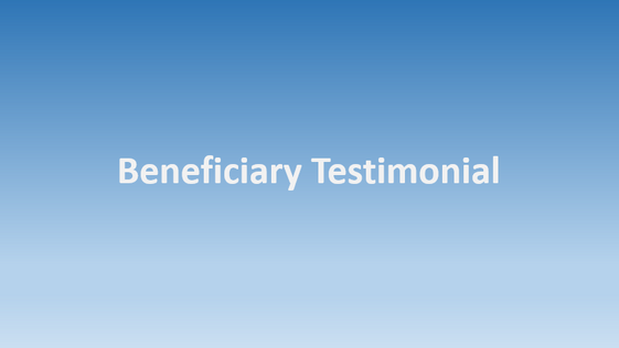 Testimonial by Confidential Beneficiary #2