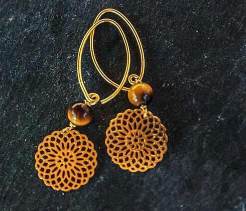 Mandala-Ohrringe mit Tigerauge