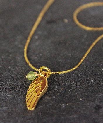Vergoldeter Engelsflügel mit Peridot/Olivin