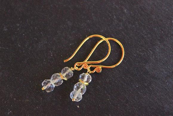 Bergkristall-Ohrringe mit Gold