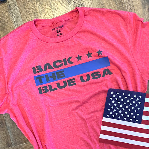Heather Red Back the Blue USA Tee