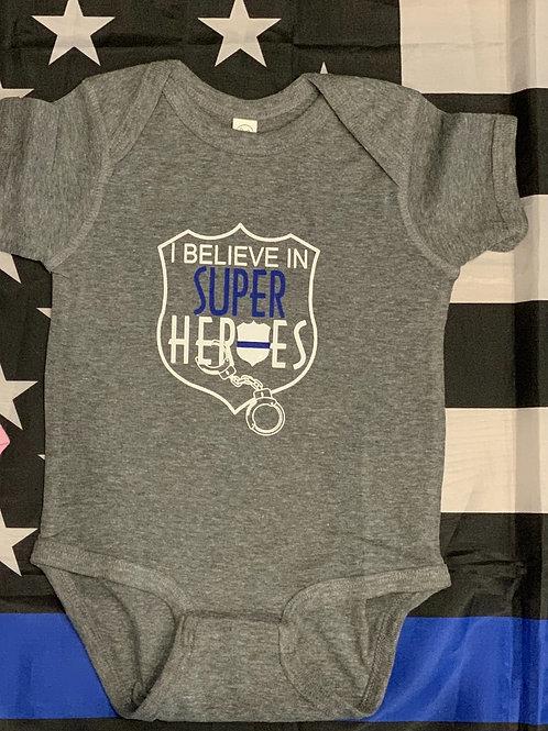 I Believe in Super Heroes Heather Gray Onesie