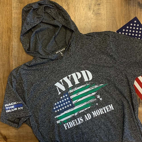 NYPD Flag Heather Black Hooded Tee