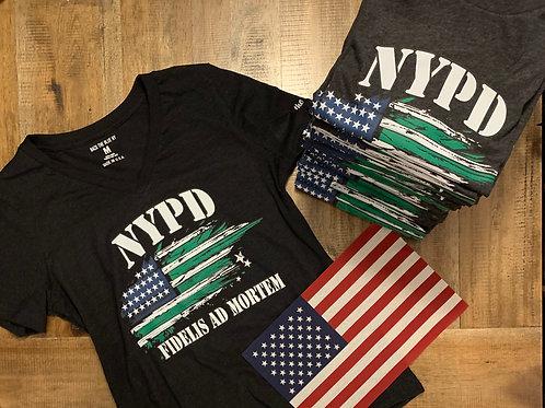 Ladies Vneck NYPD Flag Tee