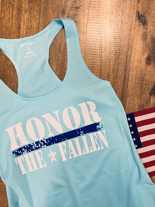 Tahiti Blue & Cancun Blue Ladies Honor the Fallen Racerback Tank