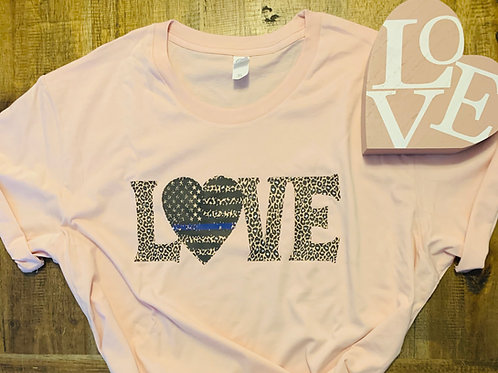 Leopard Print Love with the Blue Line Heart