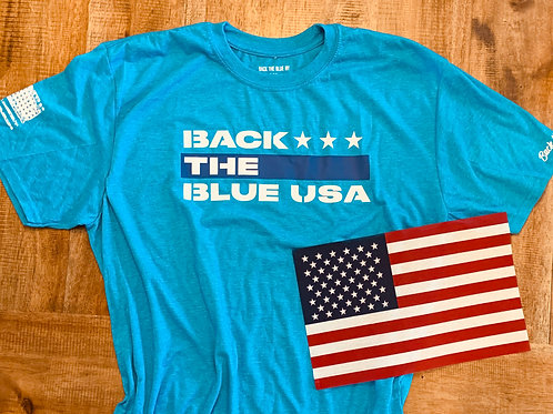 Heather Sapphire Blue Back the Blue USA Tee