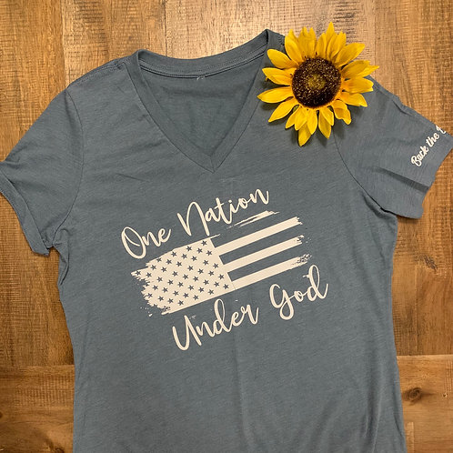 One Nation Women's V-Neck Tee
