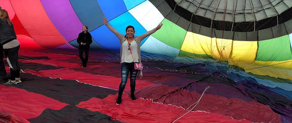 Passengers enjoy balloon tour prior to